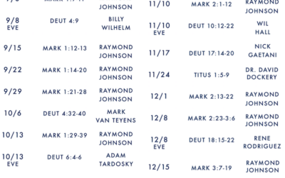 2019 Fall Sermon Schedule